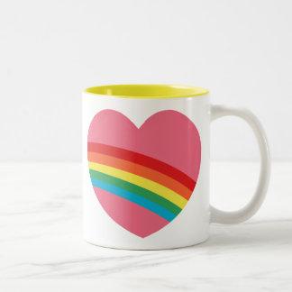 80s Chunky Rainbow Heart Mug