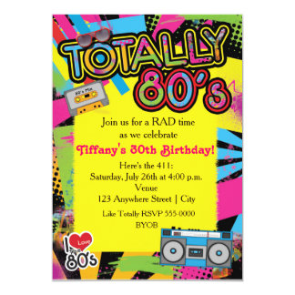 80's Eighties Birthday Party Retro Invitation