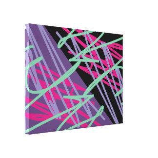 80s eighties vintage colors splash medley art stretched canvas print