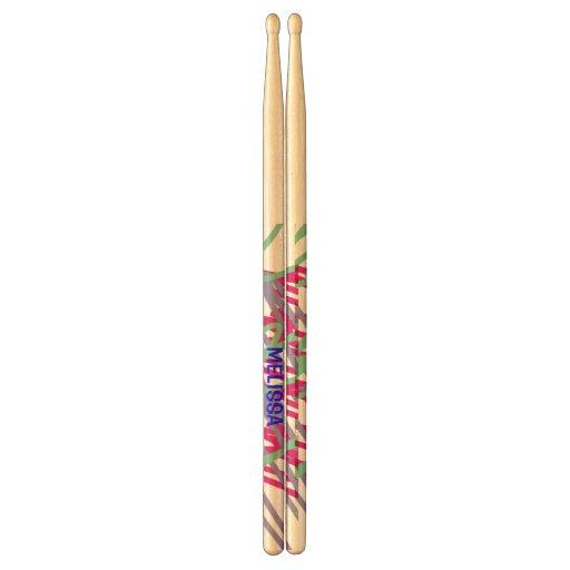 80s eighties vintage colors splash medley art girl drum sticks