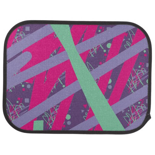 80s eighties vintage colors splash medley art girl car mat