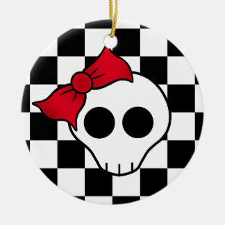 80s girly skull christmas ornament