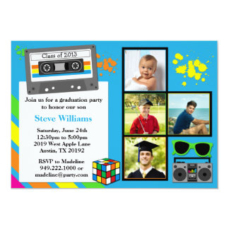 80's Graduation Party Invitation Class of 2013