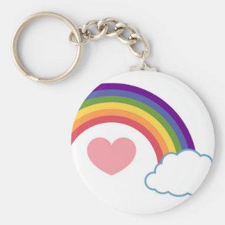 80's Heart & Rainbow - keychain