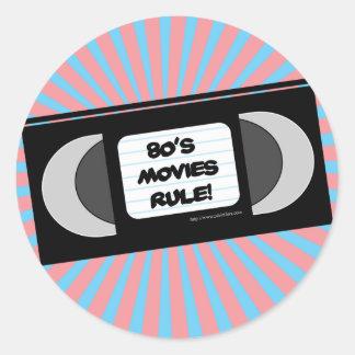 80's Movies Rule Round Sticker
