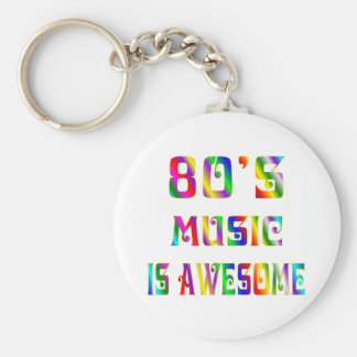 80s Music Basic Round Button Key Ring