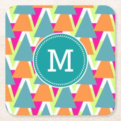 80's Neon Geometric Pattern Square Paper Coaster