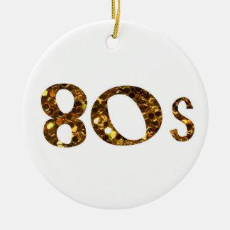 80s Nostalgia Gold Glitter double-sided Christmas Ornament