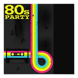 80s party 13 cm x 13 cm square invitation card