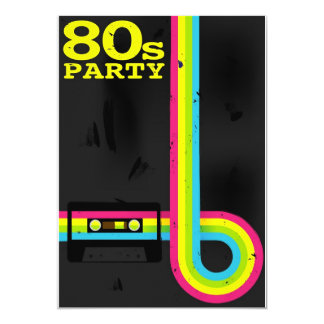 80s party 13 cm x 18 cm invitation card