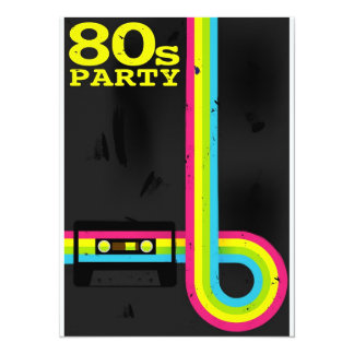 80s party 14 cm x 19 cm invitation card
