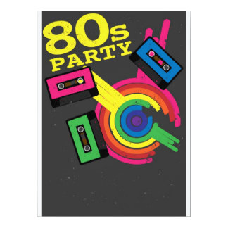 80s party 17 cm x 22 cm invitation card