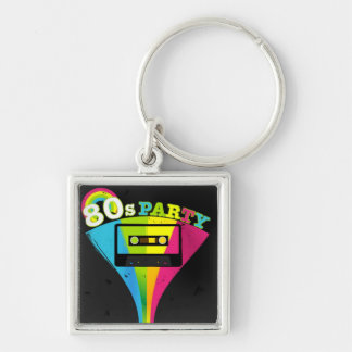 80s Party Background Key Ring