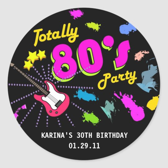 80's Party Round Sticker Tags