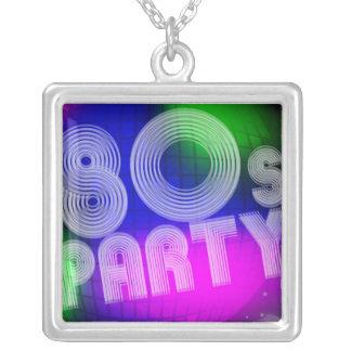 80s Party Square Pendant Necklace