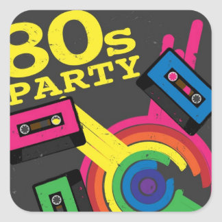 80s party square sticker