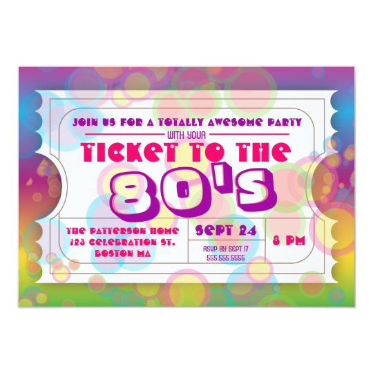 80's Party Ticket Admission Invitation