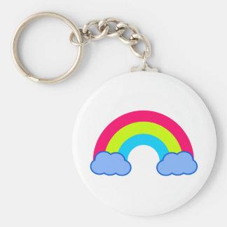80s Rainbow Basic Round Button Key Ring
