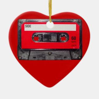 80's Red Label Cassette Ceramic Heart Decoration