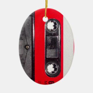 80's Red Label Cassette Ceramic Oval Decoration