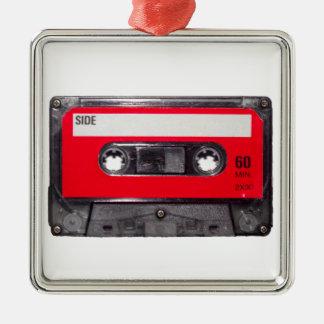 80's Red Label Cassette Silver-Colored Square Decoration