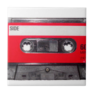 80's Red Label Cassette Small Square Tile