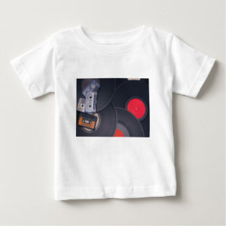 80's Retro Cassette Tapes and Vinyl Records Baby T-Shirt