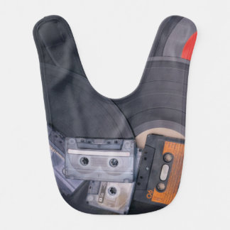 80's Retro Cassette Tapes and Vinyl Records Bibs