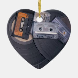 80's Retro Cassette Tapes and Vinyl Records Ceramic Heart Decoration