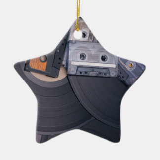 80's Retro Cassette Tapes and Vinyl Records Ceramic Star Decoration