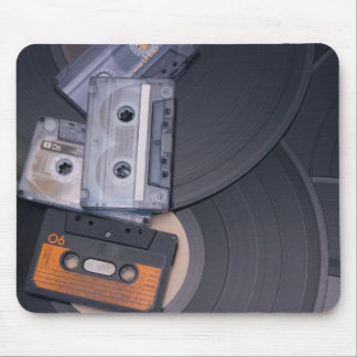 80's Retro Cassette Tapes and Vinyl Records Mouse Mat