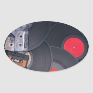 80's Retro Cassette Tapes and Vinyl Records Oval Sticker