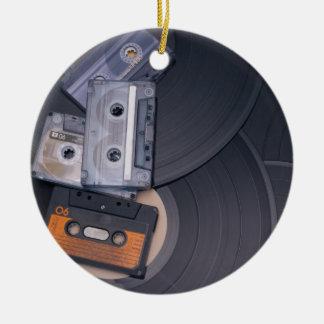 80's Retro Cassette Tapes and Vinyl Records Round Ceramic Decoration