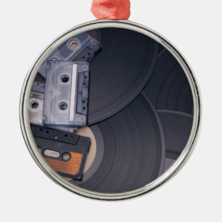 80's Retro Cassette Tapes and Vinyl Records Silver-Colored Round Decoration