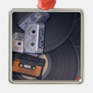 80's Retro Cassette Tapes and Vinyl Records Silver-Colored Square Decoration