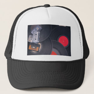 80's Retro Cassette Tapes and Vinyl Records Trucker Hat