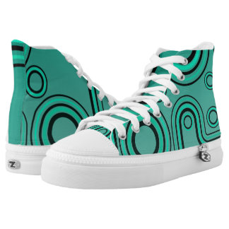 80s Retro Linear Lines Design Turquoise Sneakers