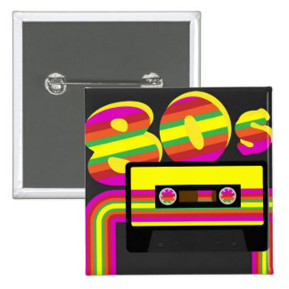 80s Retro Party 15 Cm Square Badge