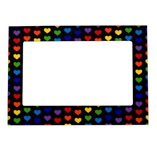 80's Retro Rainbow Hearts Picture Frame Magnet