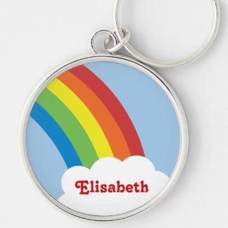 80's Retro Rainbow Personalized Keychain