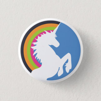80's Retro Unicorn and Rainbow Button