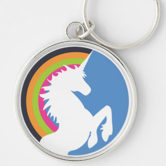 80's Retro Unicorn and Rainbow Keychain