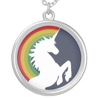 80's Retro Unicorn and Rainbow Necklace