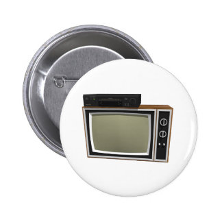 80's Style TV and VCR: 3D Model 6 Cm Round Badge