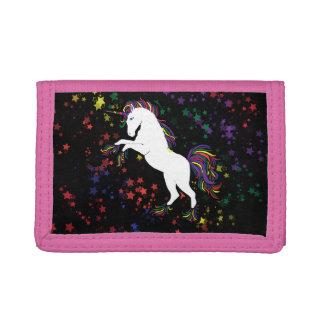 80s unicorn trifold wallet