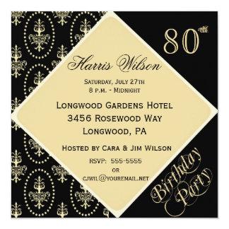 """80th-89th Birthday Invitations 5.25"""" Square Invitation Card"""