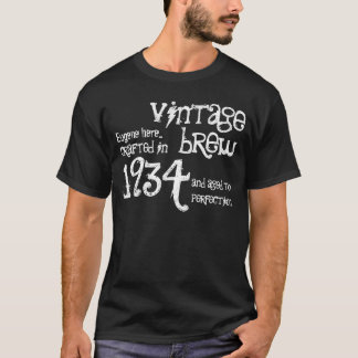 80th Birthday 1934 or Any Year Vintage Black White T-Shirt