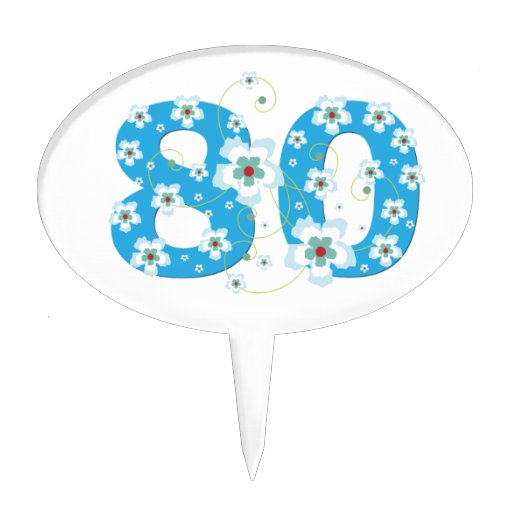 80th birthday beautiful blue hibiscus flowers cake toppers