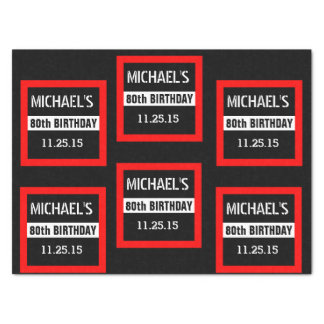 80th Birthday Black with Red Frame Custom A01E3 Tissue Paper