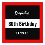 80th Birthday Black with Red Frame Custom A01E 13 Cm X 13 Cm Square Invitation Card